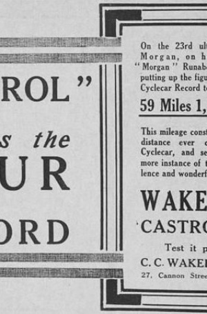<b>1910s-castrol-wakefeld-oil-cyclecar.jpg</b> <br/> Castrol Oil speed record Cyclecars 1910s