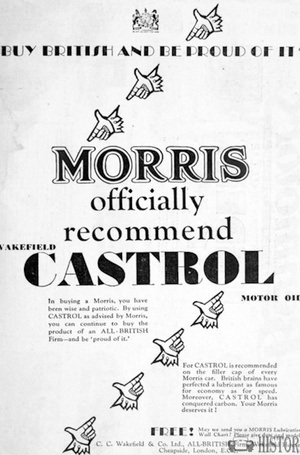 <b>Morris recommends Castrol</b> <br/> Castrol Oil Advertising 1930s