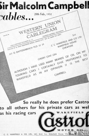 <b>Sir Malcolm Campbell Castrol</b> <br/> Castrol Oil Advertising 1930s