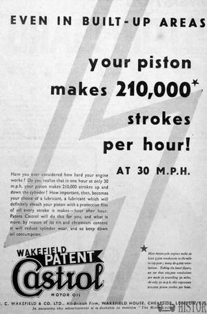 <b>Castrol pistons oil</b> <br/> Castrol Oil Advertising 1930s