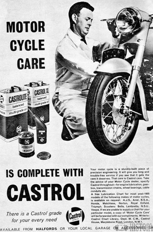 <b>Castrol Oil  1960s motorcycle care</b> <br/> Castrol Oil Advertising 1960s