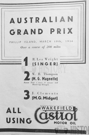 <b>Australian Grand Prix Castrol Motor Oil 1934</b> <br/> Castrol Oil Advertising 1930s