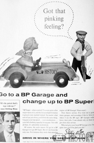 <b>BP 1957 Stirling Moss bp super</b> <br/> BP Advertising from the 1950s