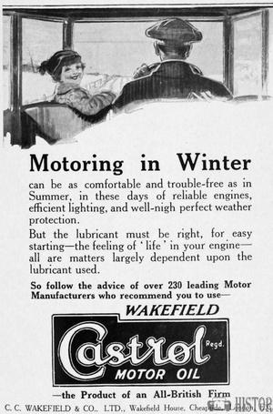 <b>Castrol Motoring in winter</b> <br/> 1920's adverts for Wakefield Castrol oil