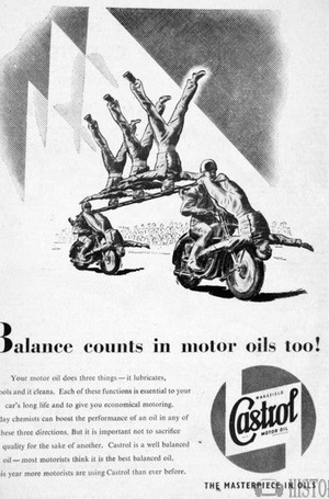 <b>Castrol Oil Advertising 1950s Balance Counts</b> <br/> Castrol Oil Advertising 1950s
