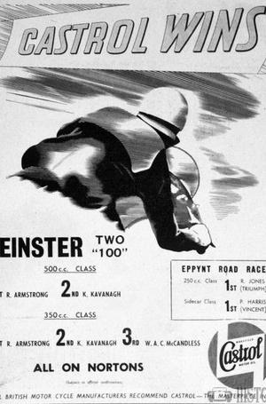 <b>Castrol Oil Advertising 1950s Castrol wins Norton bikes</b> <br/> Castrol Oil Advertising 1950s