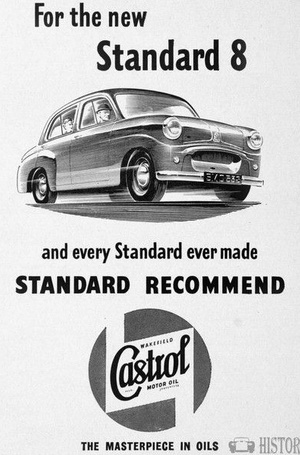 <b>Castrol Oil Advertising 1950s Standard 8 car.</b> <br/> Castrol Oil Advertising 1950s