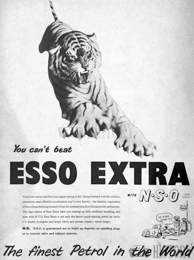 <b>1954 Esso tiger finest</b> <br/> ESSO Advertising from the 1950s
