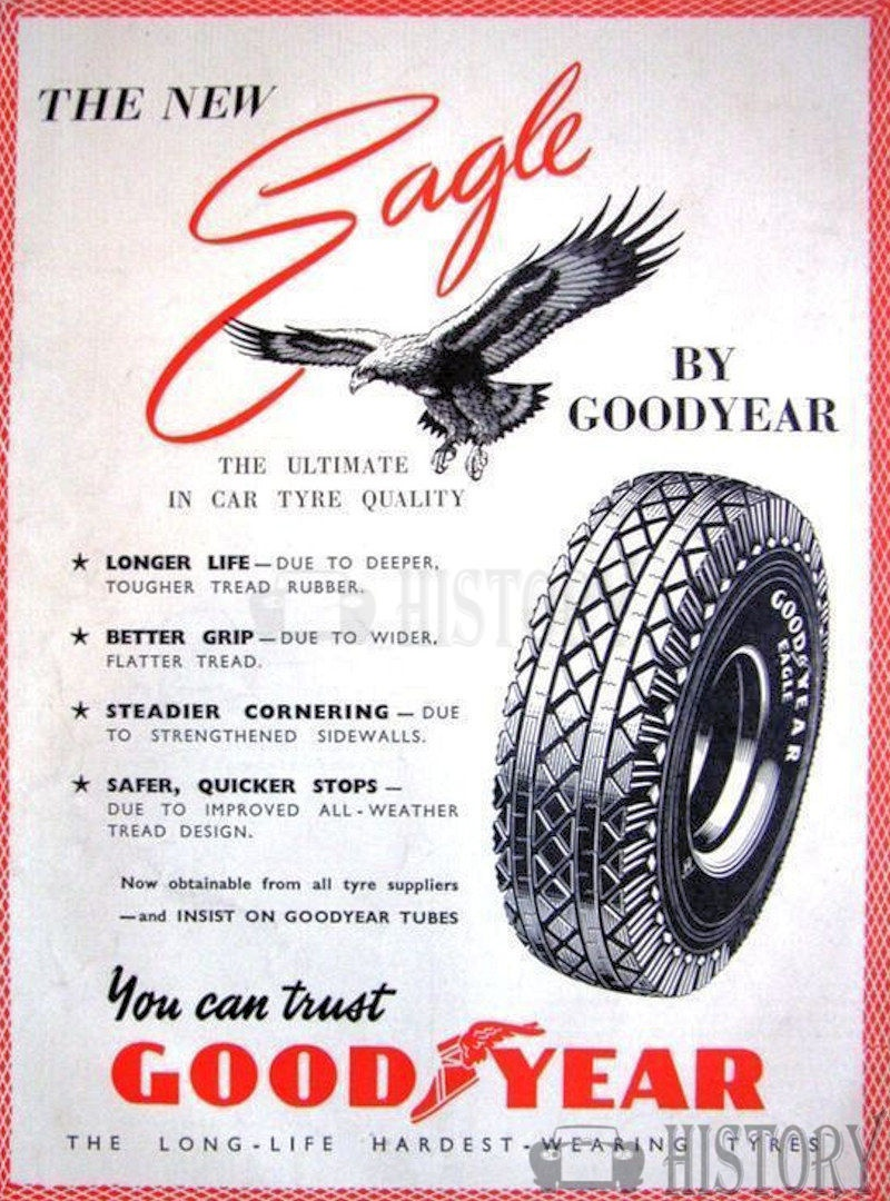 <b>1950 GOODYEAR 'Eagle' Car Tyres</b> <br/> GOODYEAR advertising from the 1950s