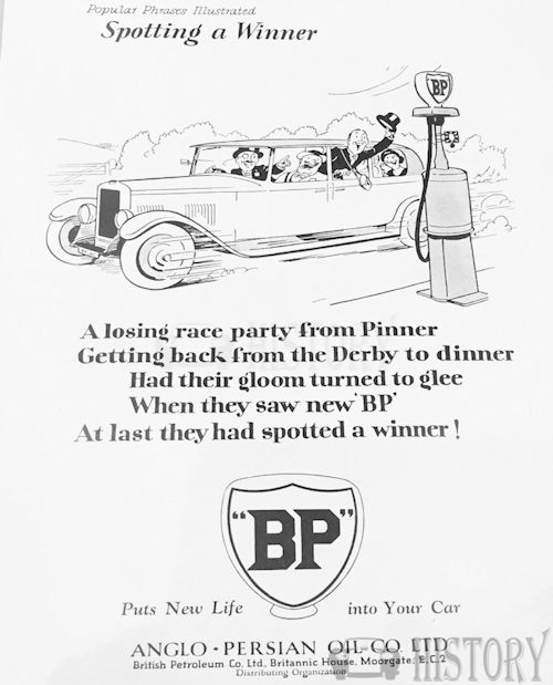 <b>BP 1930 spot a winner derby</b> <br/> British Petroleum  Advertising 1930s