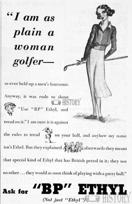 <b>bp 1933 woman golfer</b> <br/> British Petroleum  Advertising 1930s
