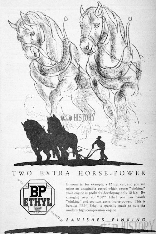 <b>bp 1937 extra horse power.</b> <br/> British Petroleum  Advertising 1930s