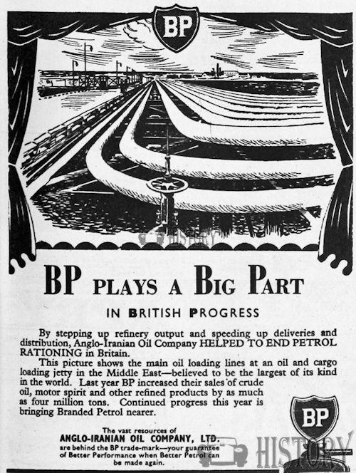 <b>BP 1950 end petrol rations</b> <br/> BP Advertising from the 1950s