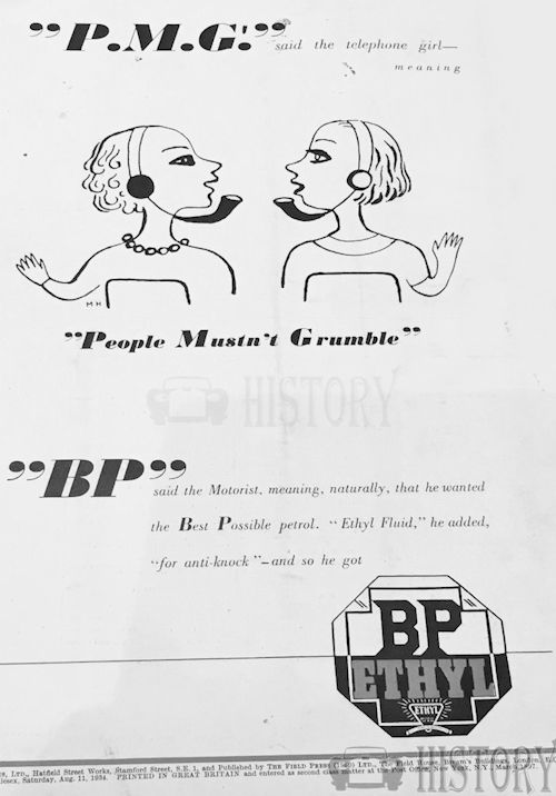 <b>BP Ethyl 1934 people mustn't grumble</b> <br/> British Petroleum  Advertising 1930s