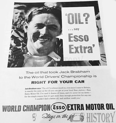 <b>Esso 1960 jack brabham champion</b> <br/> ESSO Advertising from the 1960s