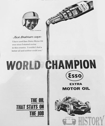 <b>Esso 1960 Jack brabham extra oil</b> <br/> ESSO Advertising from the 1960s