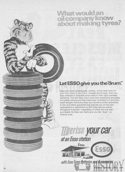 <b>ESSO Tyres 1969 tiger</b> <br/> ESSO Advertising from the 1960s