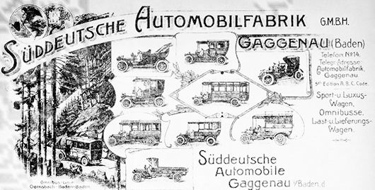 Vehicle manufacturer Gaggenau Germany from 1905 to 1910