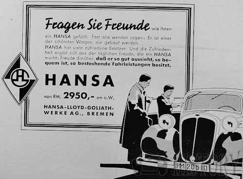 Hansa Automotive manufacturers Bremen; Germany from 1905 to 1939