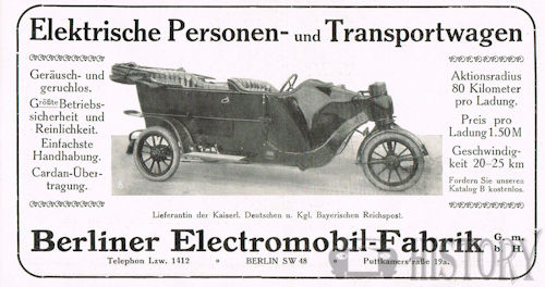 Berlin electromobile factory  Automotive manufacturers Berlin from 1907 to 1913