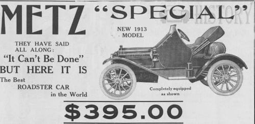 Metz Company American Automotive manufacturer Waltham, Massachusetts, USA From 1908 to 1922.