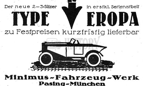 Vehicle manufacturer Munich - Pasing Germany from 1922 to 1924