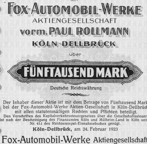 Fox (Automobil Aktiengesellschaft Paul Rollmann)  Automotive manufacturer Cologne Germany from 1920 to 1925