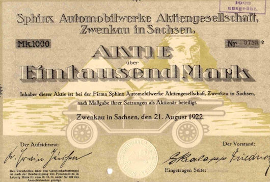 Sphinx Automobilwerke AG  Vehicle manufacturer History Zwenkau  Germany from 1920 to 1926