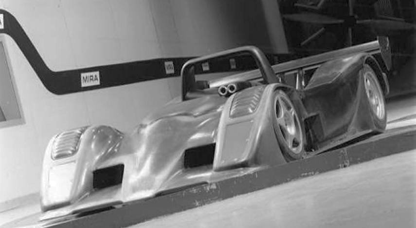 Ascari A410 in windtunnel composites engineering