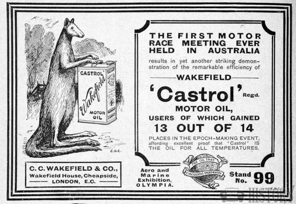 1910s castrol wakefeld oil first oz race