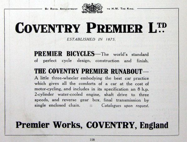 Coventry Premier Cars Founded England UK 1912
