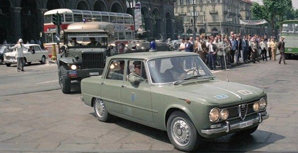 A 1963 Alfa Romeo Giulia TI in The Italian Job, Movie,from 1969