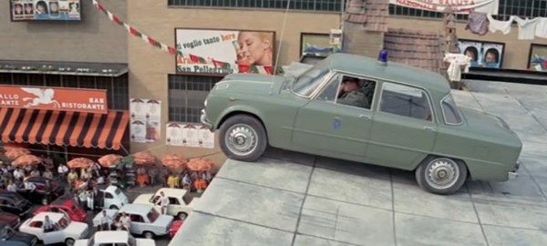 1963 Alfa Romeo police car in The Italian Job, Movie,ia  1969