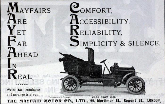 Mayfair British automobile brand,1900s
