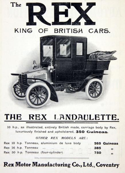 Rex Motor Manufacturing Co Limited and was based in Coventry.