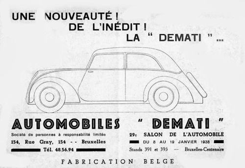 Demati (Defay, Matthys et Timberman) Automotive manufacturer of Elsene; Belgium From 1937 to 1939.