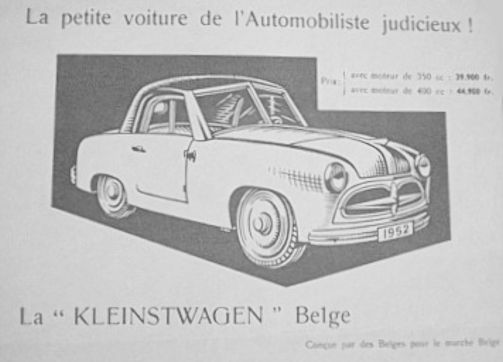 Kleinstwagen Belge (Établissements De Reuck) Automotive manufacturer of Gent;Belgium From 1951 to 1952.