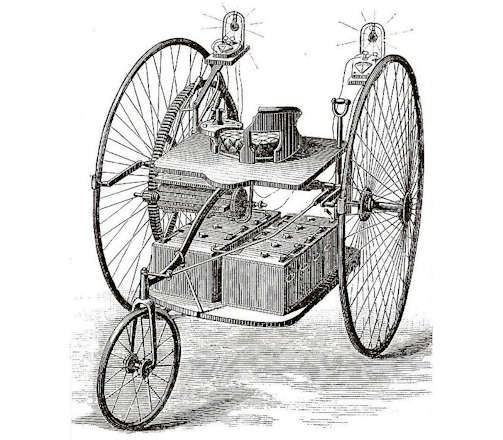 First electric car Ayrton & Perry Electric Tricycle  Early Car manufacturer of Great Britain from 1882.