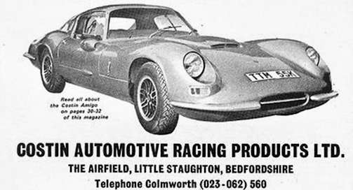 Costin Automotive Racing Products Ltd  Car manufacturer of Little Staughton,Bedfordshire;Great Britain from 1970 to 1972.
