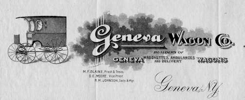 Geneva Wagon Company Automotive manufacturer of Geneva , New York , USA from 1899 to 1921.
