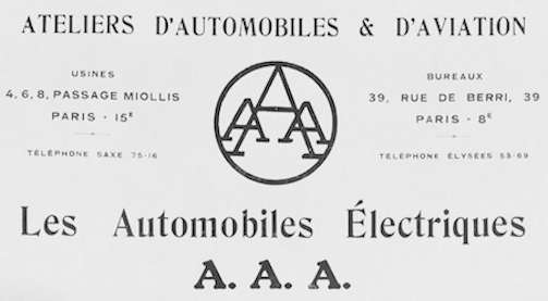 AAA (Ateliers d'Automobiles et d'Aviation)  French automobile manufacture Paris, France. Produced from 1919 to 1920