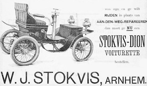 WJ Stokvis Automotive manufacturer of Arnhem Netherlands from 1900 to 1901.