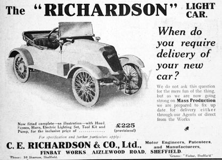 Carmakers manufactured in Sheffield Yorkshire.Great Britain from 1919 to 1922.