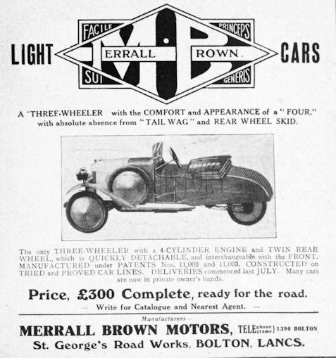 Automotive manufacturer of Bolton Lancashire.Great Britain from 1919 to 1921.