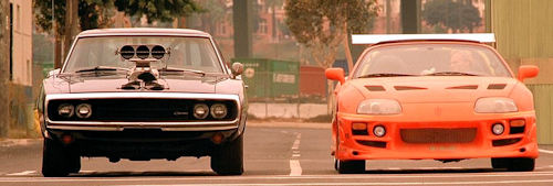 Dominic Toretto 1970 Dodge Charger and Brian O'Connors 1995 Toyota Supra Mk.IV