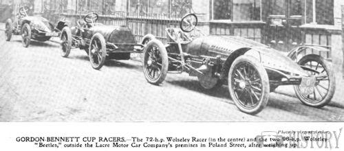 Gordon Bennett Cup Wolseley racing cars